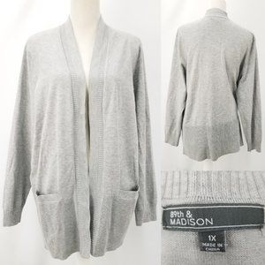 89th & Madison Open Front Cardigan with Pockets 1X